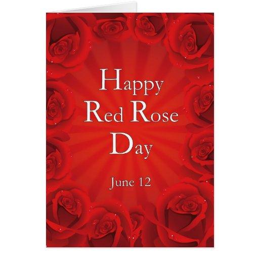 Rosa rojo día 12 de junio feliz felicitación