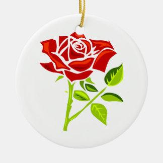 Rosa rojo día ornamento del 12 de junio adorno navideño redondo de cerámica