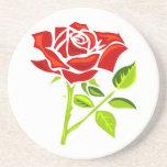 Rosa rojo día práctico de costa del 12 de junio posavasos manualidades