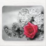 Rosa rojo elegante alfombrilla de ratón