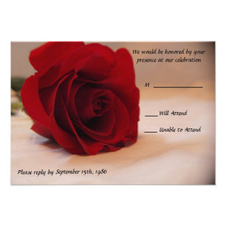 Rosa rojo elegante que casa las tarjetas de RSVP Anuncio
