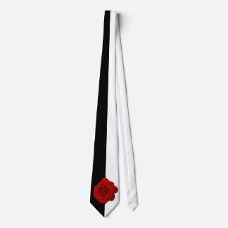 Rosa rojo en blanco y negro a medias corbata