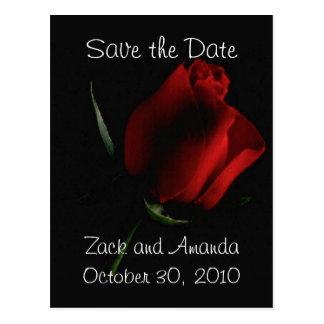 Rosa rojo en la invitación Negra Postales