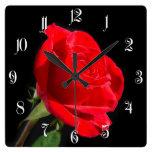 Rosa rojo en negro reloj cuadrado