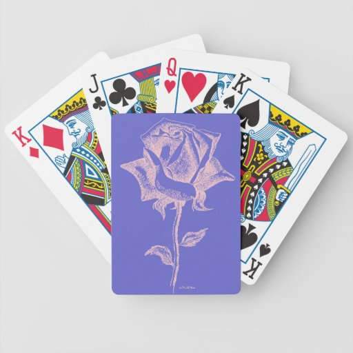 Rosa rojo en púrpura barajas de cartas