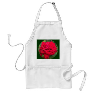 Rosa rojo enmarcado delantal
