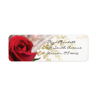 Rosa rojo etiquetas de remite