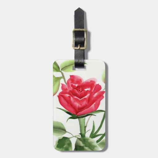 Rosa rojo etiqueta de maleta