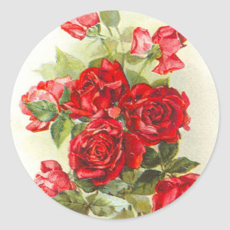 rosa rojo etiqueta redonda