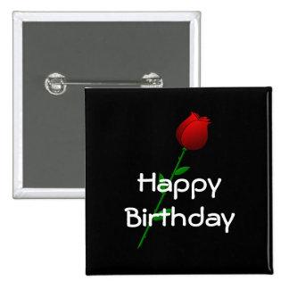 "Rosa rojo ""feliz cumpleaños "" pins"