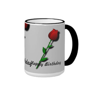"Rosa rojo ""feliz cumpleaños "" taza"