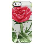 Rosa rojo funda clear para iPhone SE/5/5s