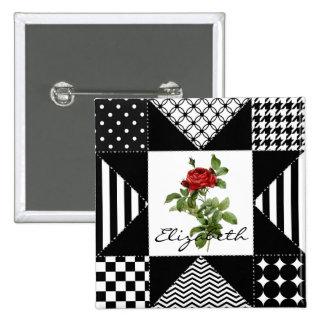 Rosa rojo geométrico blanco y negro femenino con pins