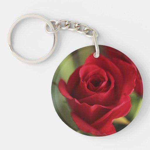 Rosa rojo hermoso llaveros