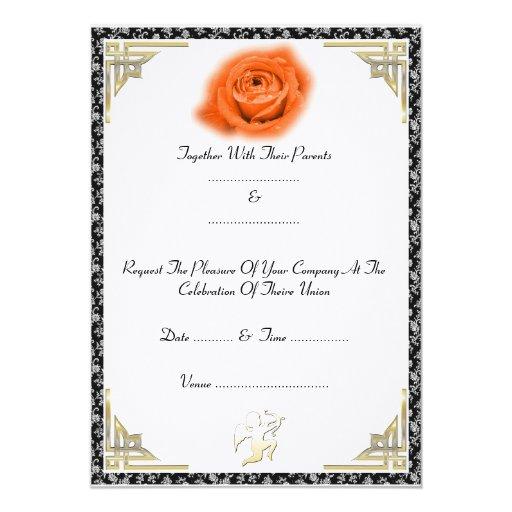 Rosa rojo - invitación invitación 12,7 x 17,8 cm