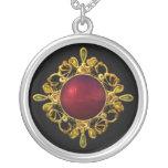 Rosa rojo Jewelled collar en negro