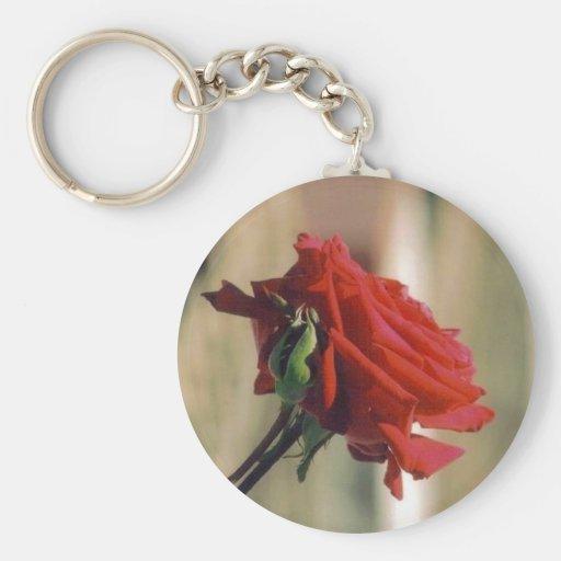 Rosa rojo llavero redondo tipo pin