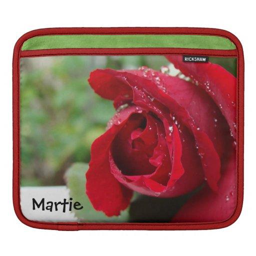 Rosa rojo - manga del carrito del iPad Funda Para iPads