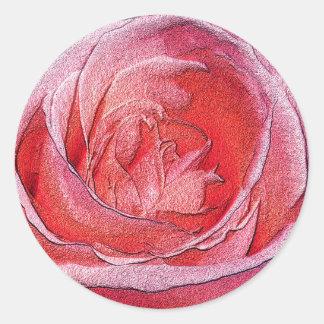 Rosa rojo materializado pegatina