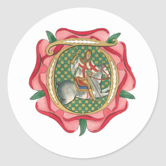 Rosa rojo medieval etiqueta redonda