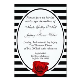 """Rosa rojo negro y rayas blancas que casan la invitación 5"""" x 7"""""""
