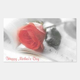 Rosa rojo - pegatina del día de madre