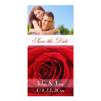 Rosa rojo photo reserva la fecha tarjeta fotografica personalizada