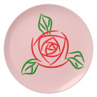 Rosa rojo plato de comida