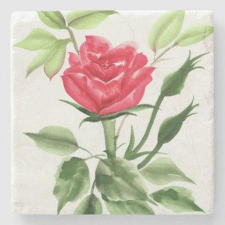 Rosa rojo posavasos de piedra