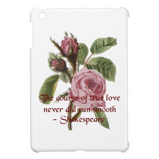 Rosa rojo relativo a Shakespeare de la cita y del  iPad Mini Cárcasas