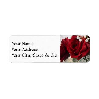 Rosa rojo rojo etiquetas de remite