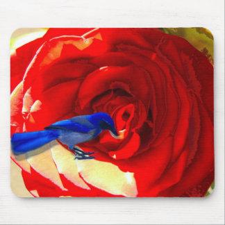Rosa rojo rojo y el pájaro azul azul Mousepad