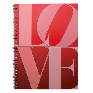 Rosa rojo romántico del amor spiral notebooks