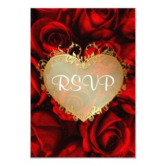 Rosa rojo RSVP que se casa floral Invitación 8,9 X 12,7 Cm