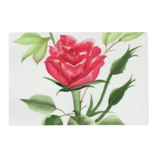 Rosa rojo tapete individual