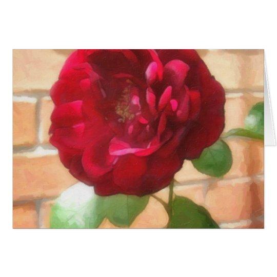 Rosa rojo viejo 2 Painterly Tarjeta De Felicitación