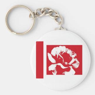 Rosa rojo y blanco llavero redondo tipo pin