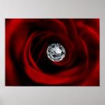 Rosa rojo y diamante del día de San Valentín Posters
