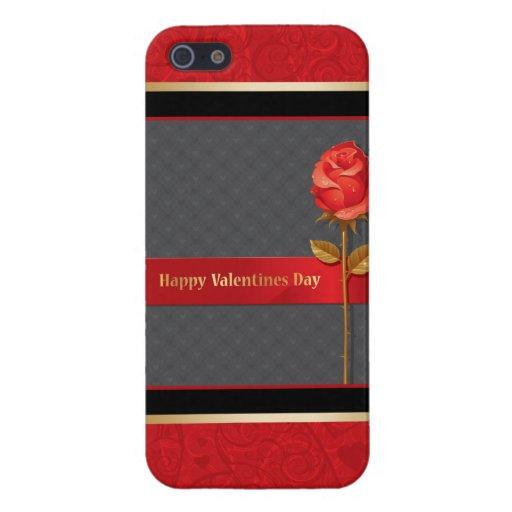 Rosa rojo y el día de San Valentín de los corazone iPhone 5 Fundas