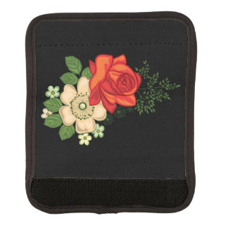 Rosa rojo y fondo negro de las margaritas funda para asa de maleta