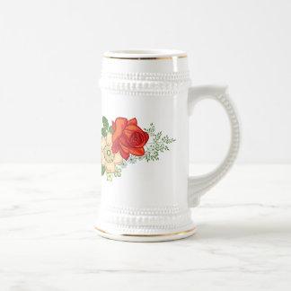 Rosa rojo y margaritas jarra de cerveza