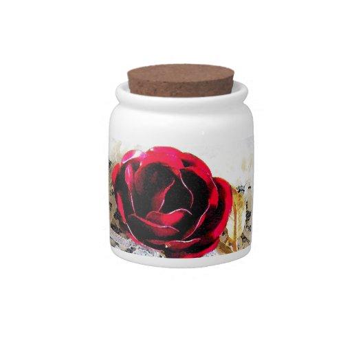 Rosa rojo y novias que casan la liga platos para caramelos