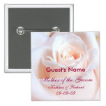 Rosa romántico personalizado casando el botón pins