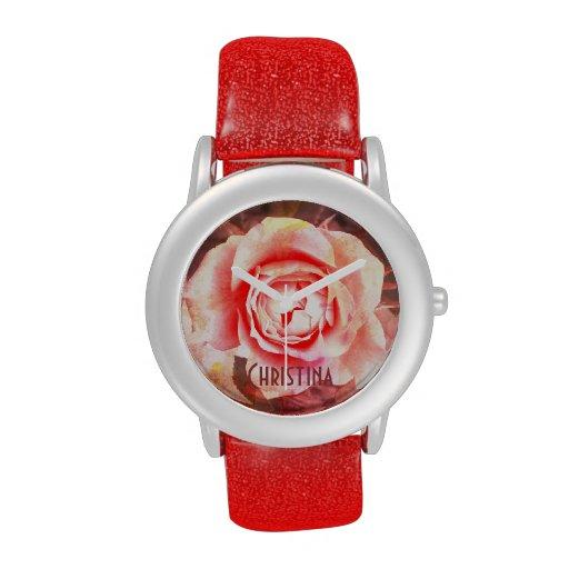 Rosa romántico, reloj de los rosas del vintage con