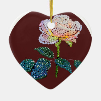rosa rosado Bedazzled Adorno De Cerámica En Forma De Corazón