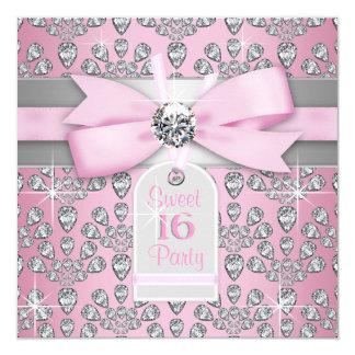 Rosa rosado de plata del diamante y cumpleaños invitación 13,3 cm x 13,3cm