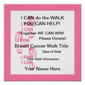 Rosa rosado del caminante del cáncer de pecho pued poster