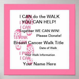 Rosa rosado del caminante del cáncer de pecho pued póster