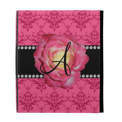 Rosa rosado del damasco del monograma subió