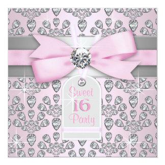 Rosa rosado del diamante y cumpleaños gris del invitación 13,3 cm x 13,3cm